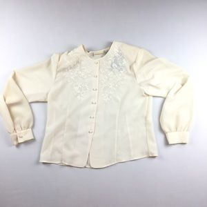 Jaclyn Smith Sz 14 Holiday Blouse Embroidered